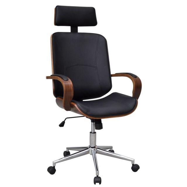 repose bois faux rotative en et avec tête bureau cuirBrun de cintré Chaise yNO80wvmn