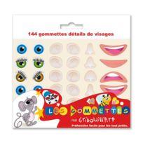 Gribouill'ART - gommettes visage adhésives assorties, repositionnables - pochette de de 360