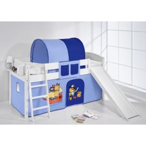 lilokids lit sur lev ludique ida 4105 90x200 cm pirate bleu lit sur lev volutif blanc. Black Bedroom Furniture Sets. Home Design Ideas