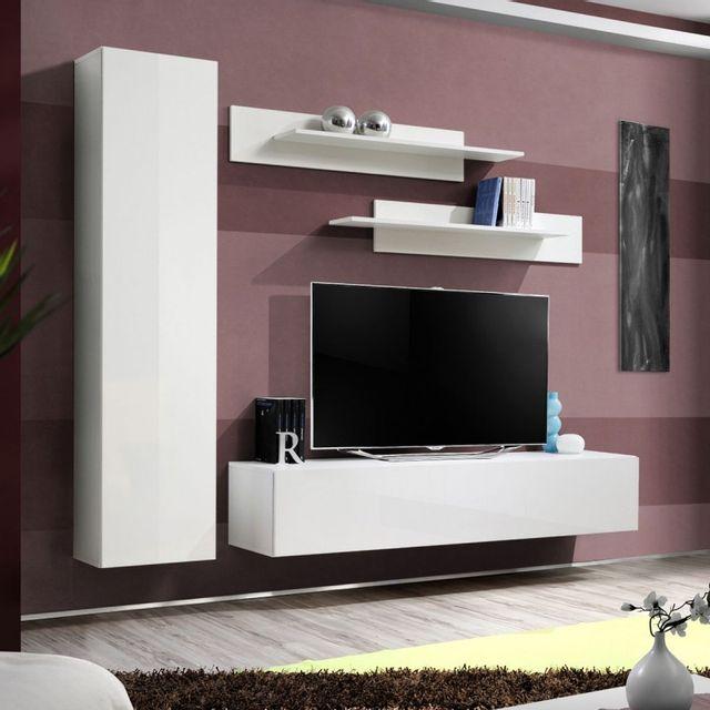 Meuble Tv Mural Design Fly I 210cm Blanc