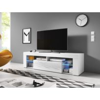Vivaldi   Everest Meuble Tv Design Blanc Mat Avec Blanc Brillant. Eclairage  à La Led