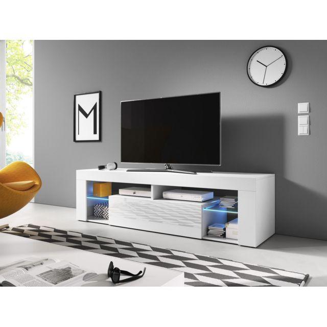Vivaldi Everest Meuble Tv Design blanc mat avec blanc brillant. Eclairage à la Led bleue