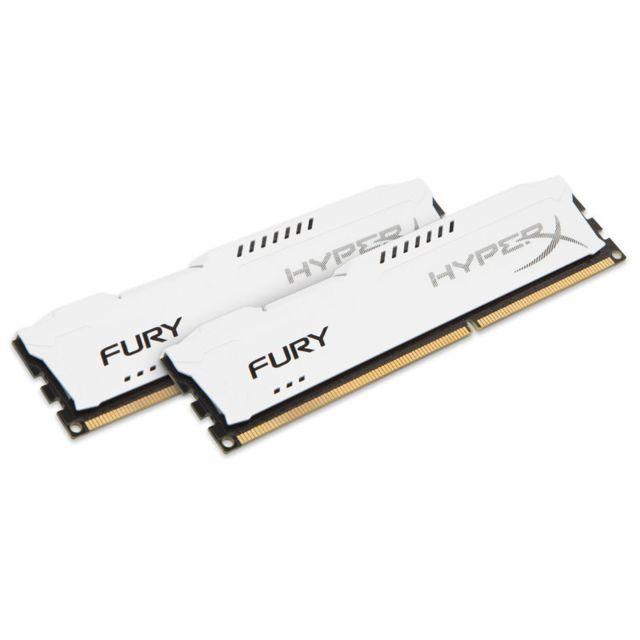 HYPERX Mémoire kit de 2 barrettes kingston DDR3 PC3-10666 - 2 x 8 Go 16 Go, 1333 MHZ - CAS 9 - Fury White Series Surcadençage automatique –jusqu'à - 1866MHz Dissipateur thermique asymétrique: évacuez la chaleur avec classe et efficacité - Compatible avec