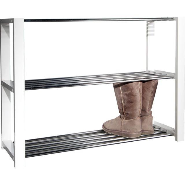 Comforium Meuble de chaussures design en bois mdf et métal coloris blanc
