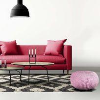The Concept Factory - Pouf coussin de sol tricot Cosy rose