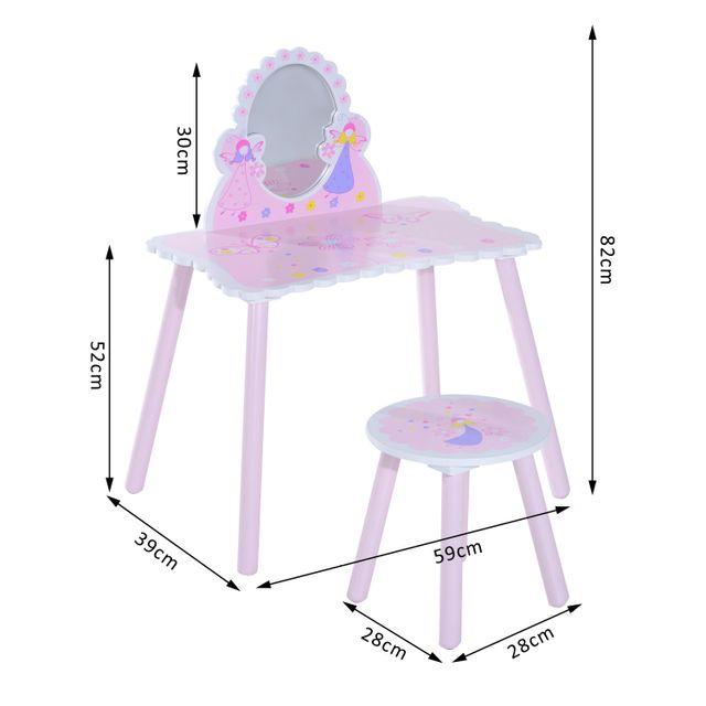 HOMCOM - Coiffeuse avec miroir et tabouret pour enfants modèle ...