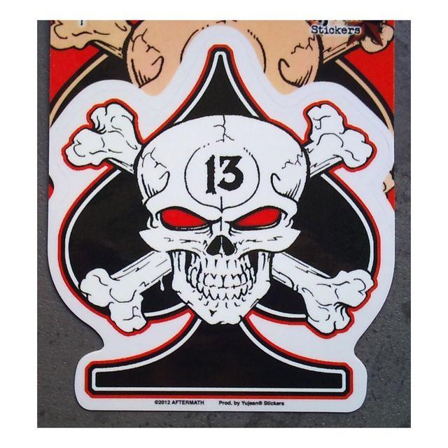 Universel Sticker as de pique noir crane pirate 13 autocollant biker