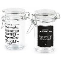 Promobo - Lot Set 2 Bocaux Verre Couvercle Hermétique Confiture Collection Bistrot Douceur 60ml