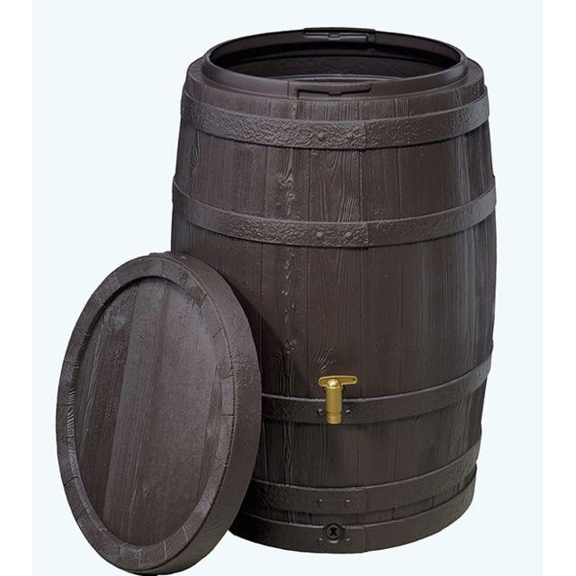 Kit Tonneau Vino Réservoir De Récupération Deau De Pluie 400l Brun