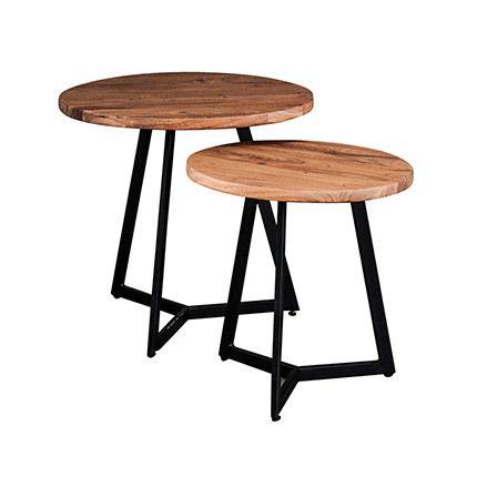 Table appoint 2 plateaux 50cm et 40cm en acacia et métal