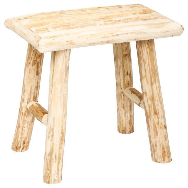 Atmosphera - Tabouret en bois Woody - H. 32 cm - Naturel Beige