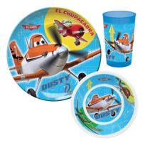 Trudeau - Set de 3 pièces assiettes + gobelet en mélamine et plastique Avion bleu Planes