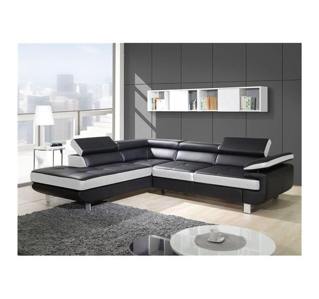 CHLOE DESIGN Canapé design d'angle studio - noir et blanc - Angle gauche