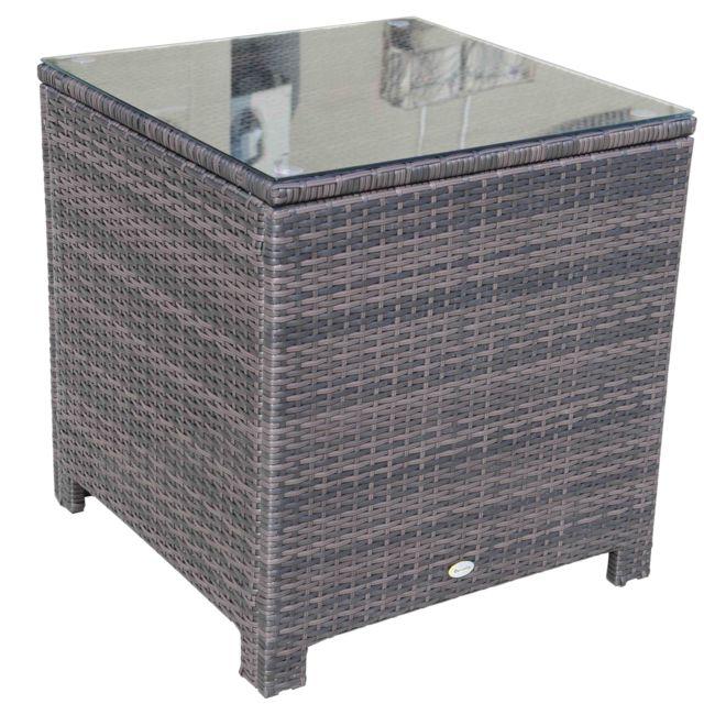 Homcom table dappoint chevet poly rotin pour canape fauteuil salon de jardin brun 64x64x68cm 51