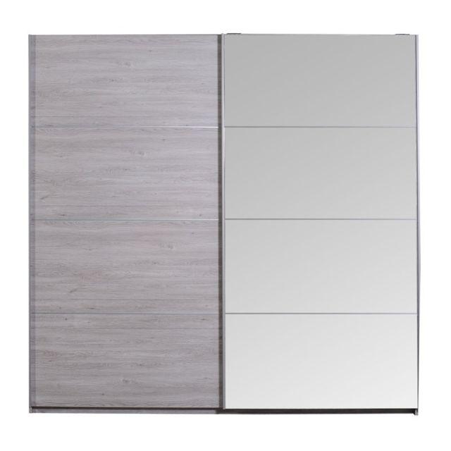 tousmesmeubles armoire 2 portes coulissantes gris clair. Black Bedroom Furniture Sets. Home Design Ideas
