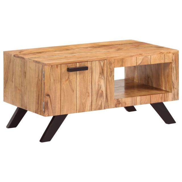 Vidaxl Bois d'Acacia Solide Table Basse 90x50x45 cm Table d'Appoint Salon
