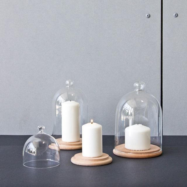 Comingb - Plateau de présentation en bois avec cloche en verre Natur - Grand modèle