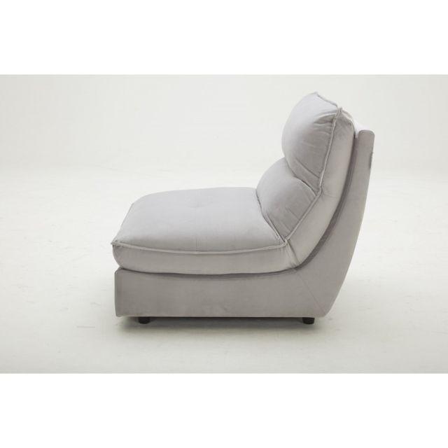 Meubletmoi Chauffeuse Gris pour canapé modulable - tissu velours doux - ultra confortable moelleux- Kaya