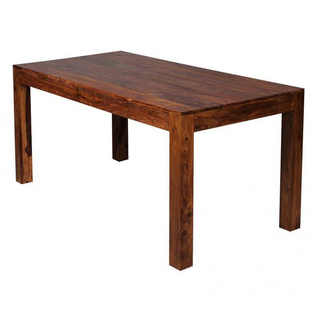 Comforium Table à manger 160 x 80 cm en bois massif coloris sheesham