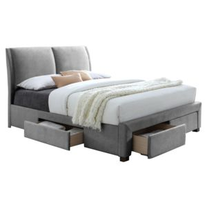 comforium lit 140x200 en pvc coloris gris avec 4 tiroirs. Black Bedroom Furniture Sets. Home Design Ideas