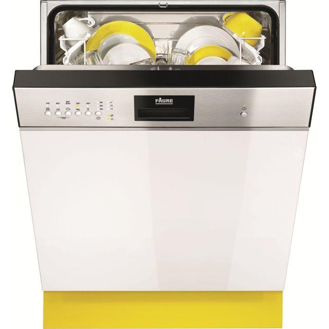 FAURE Lave-Vaisselle Intégrable FDI14001XA FDI 14001 XA, Inox Anti-trace