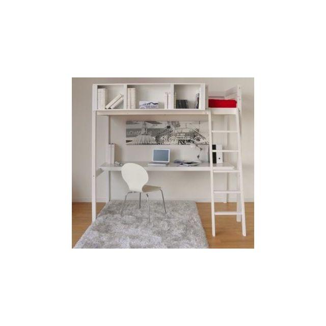 no name lit mezzanine lou 90x190 bureau rangement 3 niches 1 sommier blanchi 90cm x. Black Bedroom Furniture Sets. Home Design Ideas