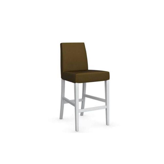 Chaise de bar Latina piétement hêtre laqué blanc assise tissu vert olive