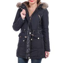 Lamodeuse - Manteau bi-matière à capuche noir