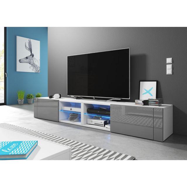Vivaldi Hit 2 Double Meuble Tv Design Blanc Mat Avec Gris Brillant