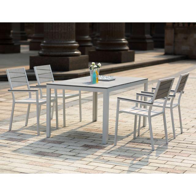 CONCEPT USINE - Siderno 4 : Salon de jardin en aluminium et polywood ...