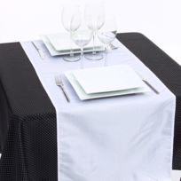 Mobea - Chemin de table - 40 x 140 cm - Blanc et argent