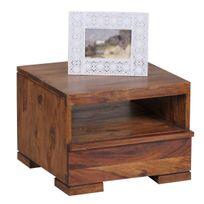 COMFORIUM - Table de chevet avec 1 tiroir et 1 étagère 40 cm en bois massif sheesham