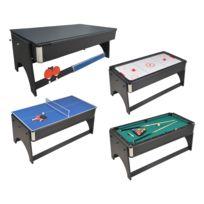 56ab5c3af5ede5 Table de jeux 4 en 1 Air Hockey, Ping pong, Billard et plateau dînatoire,  Accessoires inclus - 183 x 91 x 81 cm