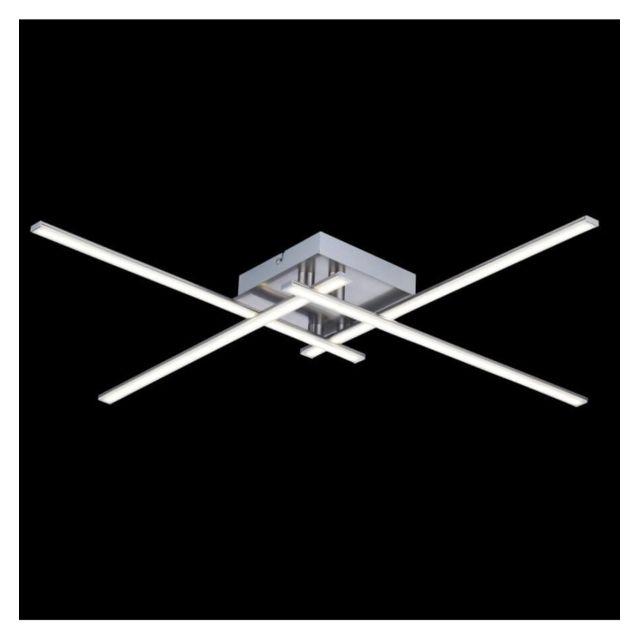 Kosilum - Lustre Plafonnier Led design 4 bras chromés - Yuna - En ...