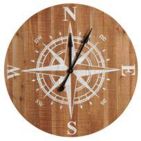 Horloge boussole en bois