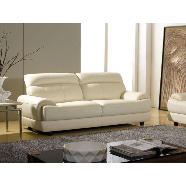 soldes la maison du canap canap cuir 3 places lesko cuir sup rieur beige 93cm x 216cm x. Black Bedroom Furniture Sets. Home Design Ideas