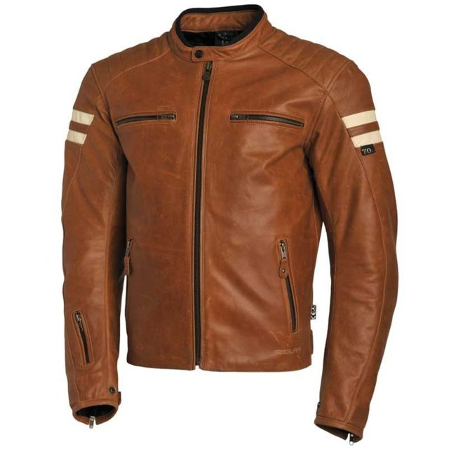 Blouson cuir moto camel