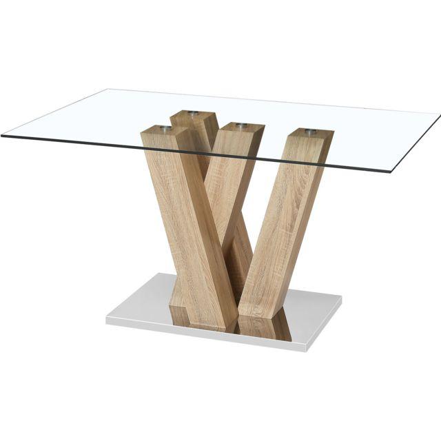 HABITAT ET JARDIN Table repas Gaya - 150 x 90 x 75 cm - Marron