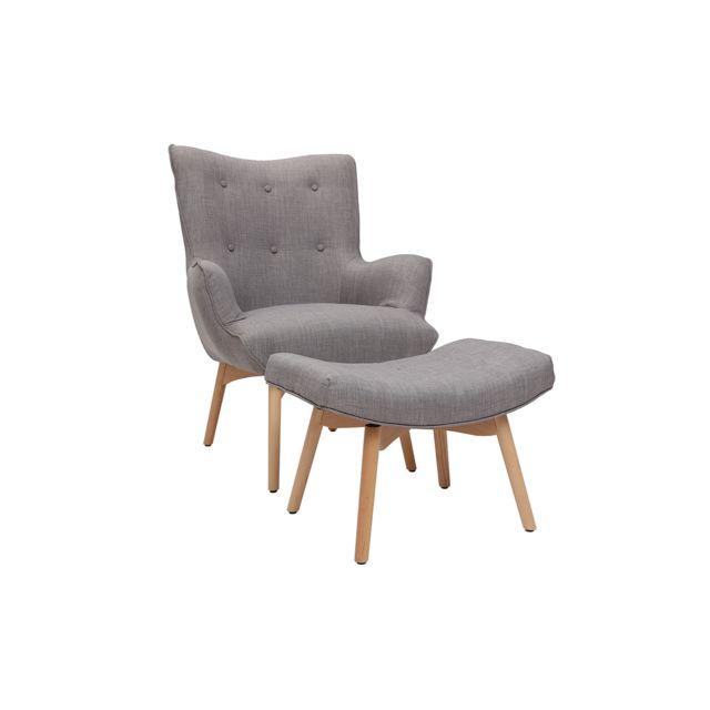 Miliboo Fauteuil design scandinave et son repose pied gris clair et bois clair Bristol
