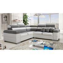 TOPDECO - Canapé d'angle Colorado gris et blanc avec têtières inclinables