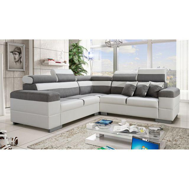 topdeco canap d 39 angle colorado gris et blanc avec. Black Bedroom Furniture Sets. Home Design Ideas