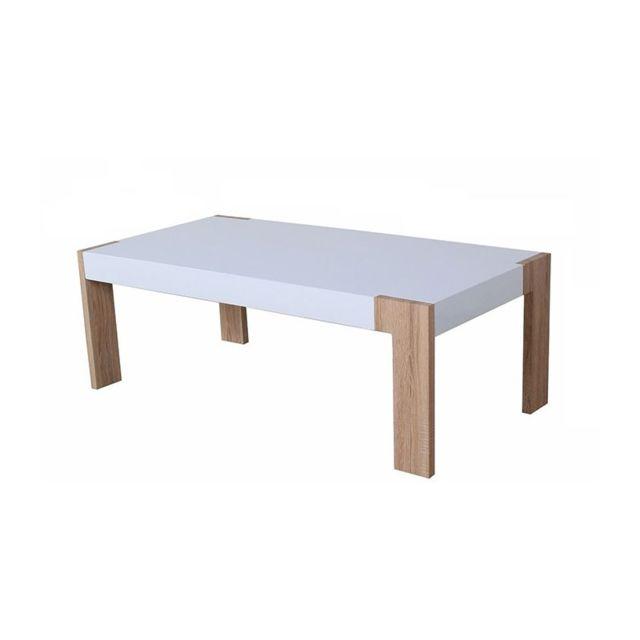 Casa Baoli Table Basse Blanc Laqué Pieds Coloris Chêne Misio