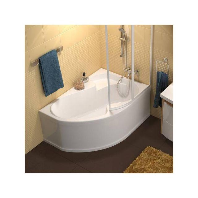 ravak baignoire d 39 angle asym trique rosa 140 droite sans tablier 105cm x 140cm pas cher. Black Bedroom Furniture Sets. Home Design Ideas