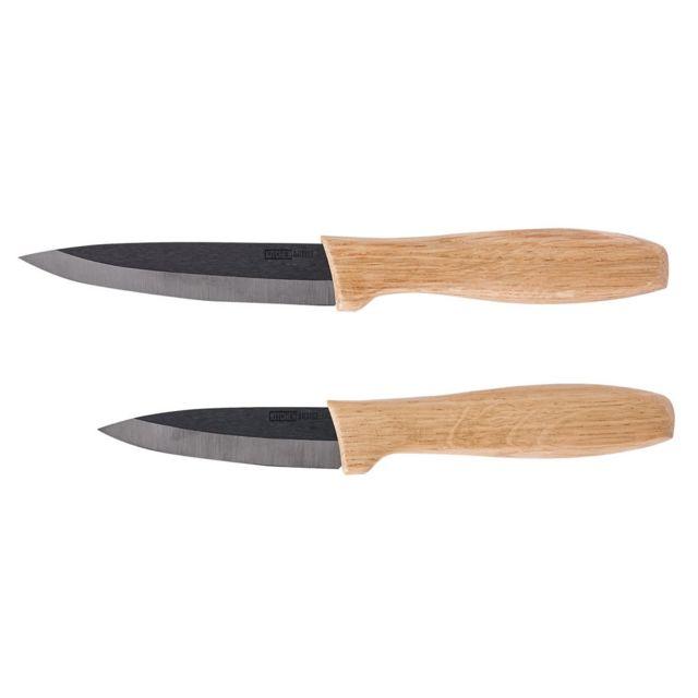 Kitchen Artist Set 2 couteaux céramique noire et bois Men337