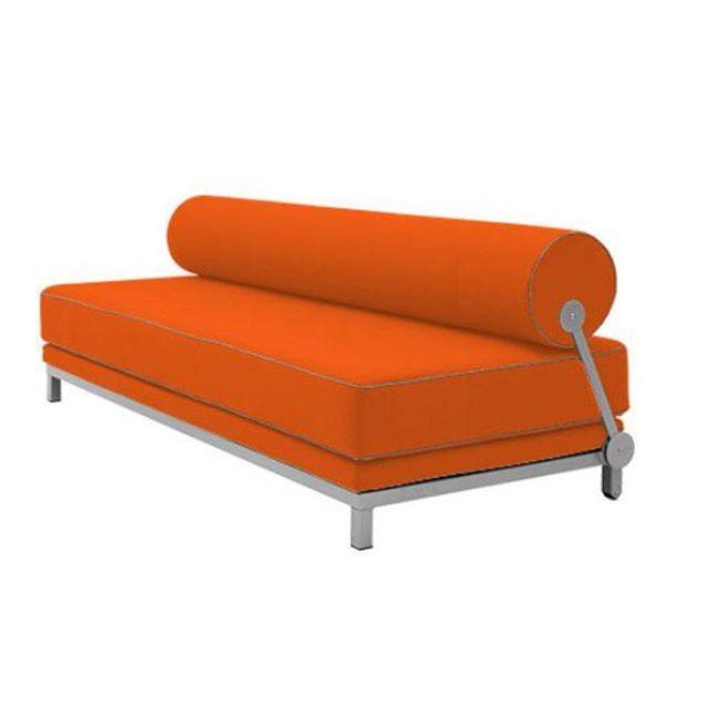 Inside 75 Canapé lit convertible design Sleep en tissu laine orange structure aluminium Softline