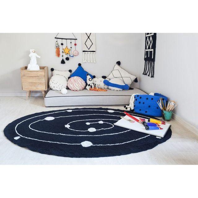 Lorena Canals - Tapis Galaxy ovale en coton noir et blanc lavable ...
