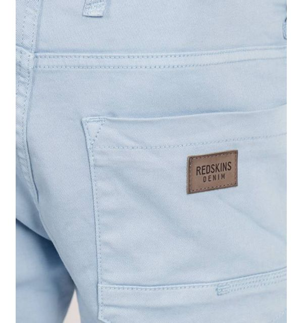 Redskins Pantalon chino sky blue en coton stretch, coupe droite - CODY2 MAHEVAN - 34 Pantalon chino en coton stretch, coupe droite