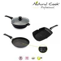 Natural Cook Professionnel - Poêle, Sauteuse 24 et Grill de 28 cm en pierre granité et céramique - tous feux
