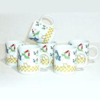 B.E.C. - Tasses Café X 6 porcelaine blanche Basse-cour