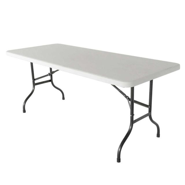 Mobeventpro Table pliante 200cm 12 places buffet traiteur blanc
